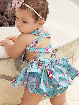 Lace Trim Cross Tie-Wrap Girl Sleeveless Romper