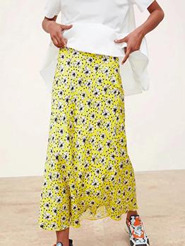 Vintage Floral High Waist Yellow Maxi Skirts