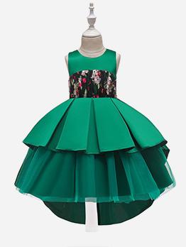 Asymmetric Hem Large Hem Girl Princess Dress