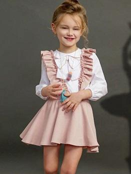 Binding Bow Tee With Pink Ruffles Suspender Skirt