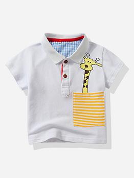 Cartoon Giraffe Pocket Short Sleeve Boy Polo Shirt