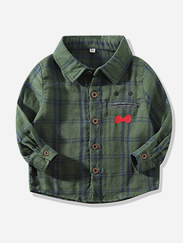 Single-Breasted Plaid Long Sleeve Shirt For Boy
