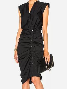 Elegant V Neck Pleated Black Sleeveless Dress