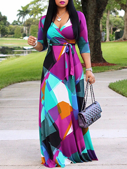 Bohemia Printed Fitted Plus Size Maxi Dress