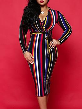 Sexy Deep V Neck Colorful Striped Dress