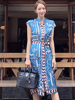 Single-Breasted Printed Split Hem Sleeveless Dress