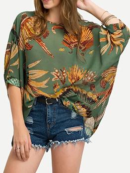 Loose Bat Sleeve Printed Chiffon Shirts