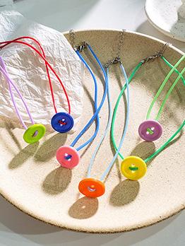 Cute Contrast Color Patchwork Choker Necklace