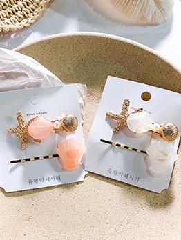 Fashion Starfish Patchwork Hair Clip Set For Women