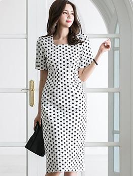 Square Neck Polka Dot Short Sleeve Dress
