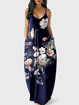European Style Off Shoulder Strap Printed Maxi Dresses