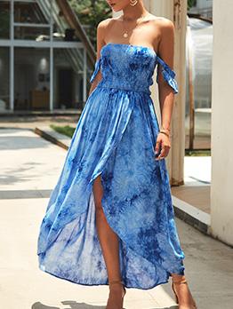New Stylish Printed Off Shoulder Ladies Maxi Dresses