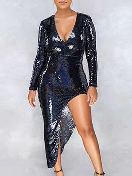 V Neck Low-cut Sequined Asymmetric Dress