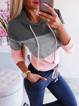 Hot Sale Contrast Color Long Sleeve Hoodies For Women
