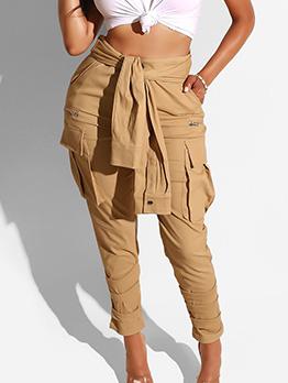 Fashion Tie-Wrap Pencil Khaki Pants