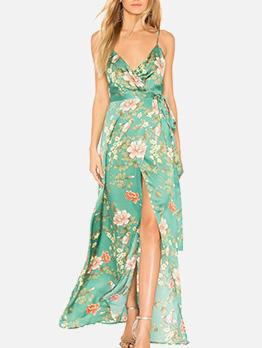 Cool Flower Printed Shoulder Strap Beach Maxi Dresses
