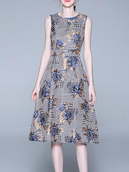 New Design JacquardWeave Fitted Sleeveless Sundress