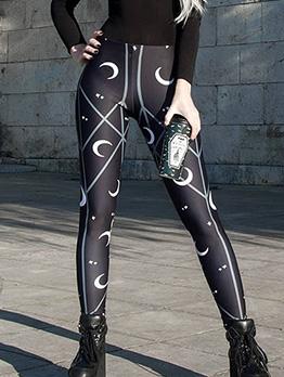 Moon Printed Skinny High Waist Yoga Long Pants