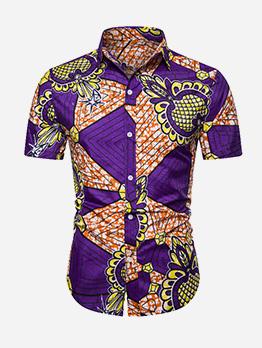 National Turndown Collar Short Sleeve Printed Mens Shirts