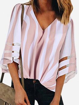 V Neck Striped Flare Sleeve Blouse