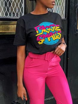 Multicolor Letter Print Women Short Sleeve T-Shirt