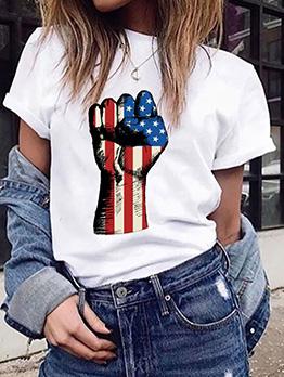 Easy Match Hand Shape Print Short Sleeve T-Shirt