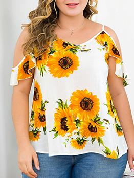 Open Shoulder Sunflower Ruffles Plus Size T-Shirt