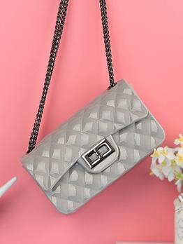 Simple Style Hasp Rhombus Chain Crossbody Bag