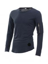 Casual Zipper Long Sleeve T-shirt For Men