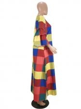 V Neck Lantern Sleeve Colorful Plaid Maxi Dress