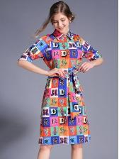 Colorful Plaid Letter Printed Tie-Wrap Shirt Dress
