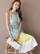 Off Shoulder Colorblock Geometric Printed Midi Dress
