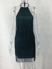 Backless Solid Tassel Halter Dress