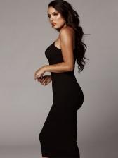 Sexy U Neck Chain Patchwork Straps Midi Dress