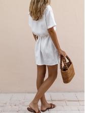Turndown Neck Single-Breasted Multi Pockets White Dress