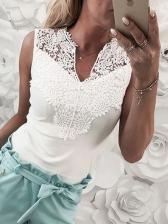 Fashion Patchwork Lace Solid Ladies Blouse
