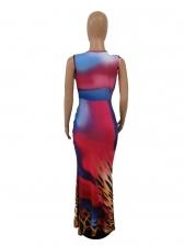 Deep V Neck Colorblock Leopard Printed Maxi Dress