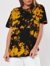 Crew Neck Ink Splash Print T-shirt For Women