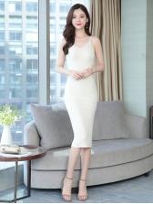 Simple Style V Neck Knitting Sleeveless Dress