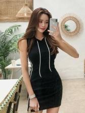 Hooded Collar Sporty Sleeveless Dress