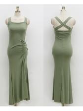 Square Neck Backless Split Hem Maxi Dress