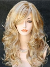 Hot Sale Inclined Bang Colormix Long Wave Synthetic Wig