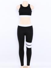 Contrast Color Backless Ladies Yoga Sets