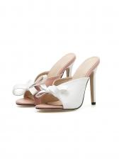 Trendy Bow Decor High Heeled Ladies Slippers