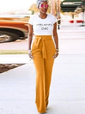 Casual High Waist Tie-Wrap Solid Palazzo Pants