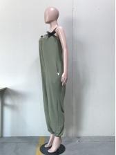 Bow Wrap Straps Solid Loose Jumpsuit
