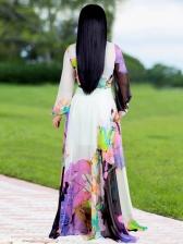 Euro Tie-Wrap Multicolor Printed Floor Length Maxi Dress