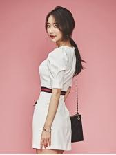 V Neck Puff Sleeve White Short Dress