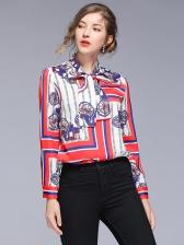 Fashion Printed Shirt Sleeve Blouse
