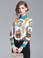 Fashion Totem Printed Long Sleeve Blouse